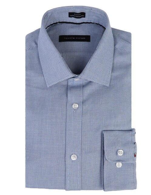 gráfico Camisa con diseño Tommy vestir manga francés claro slim larga cuello fit corte azul de Hilfiger 66ZxnEOf