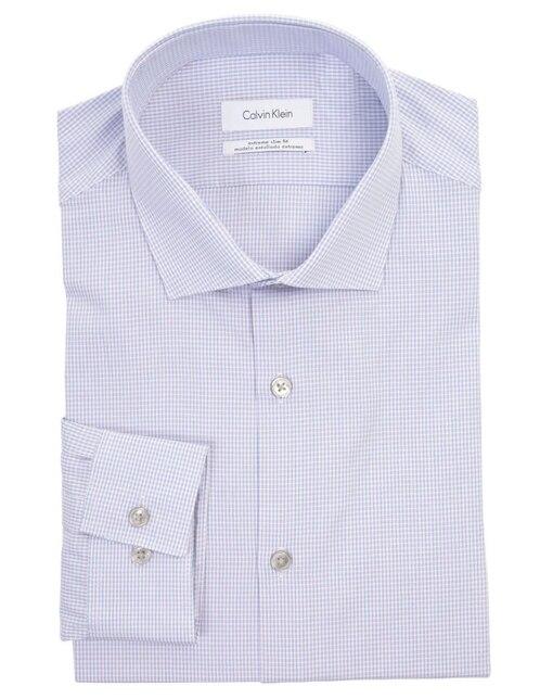 Camisa de vestir a cuadros Calvin Klein corte slim fit cuello italiano rosa 94fd281b68a0
