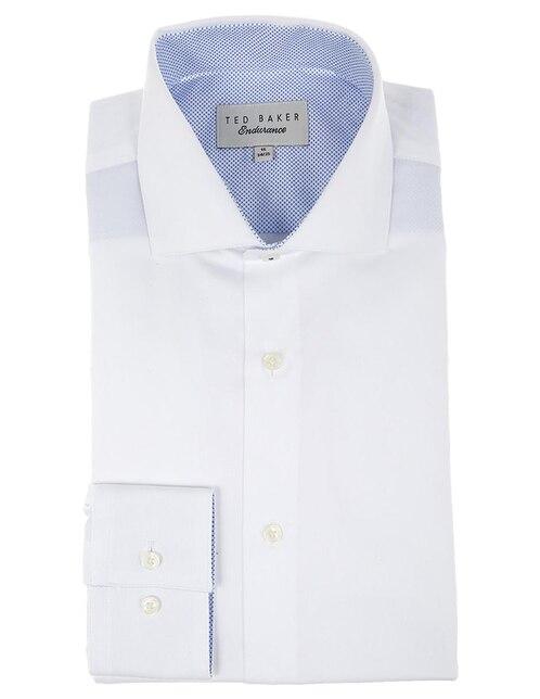 Camisa de vestir Ted Baker cuello italiano corte slim fit manga larga blanca 932dd12b6457a
