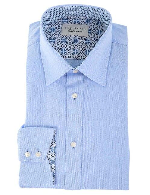 Camisa de vestir Ted Baker cuello francés corte slim fit manga larga azul  con diseño gráfico 9db314f9065de