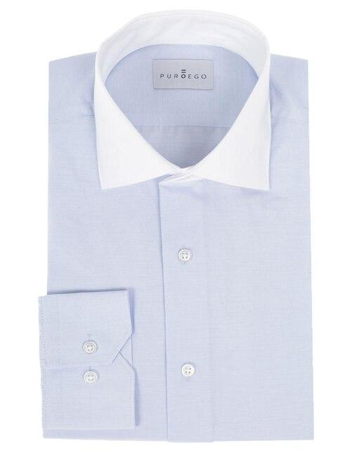 Camisa de vestir Puroego corte slim fit cuello italiano algodón azul 978e4d5cbbd7