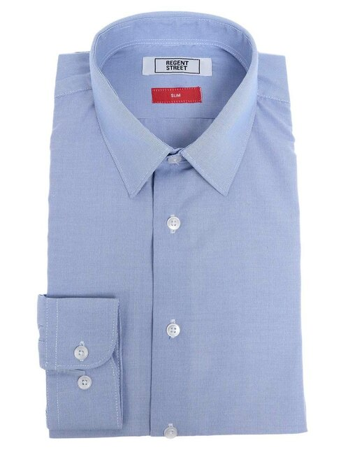 Camisa de vestir Regent Street cuello francés corte slim fit manga larga  azul a rayas 6e9171137fc