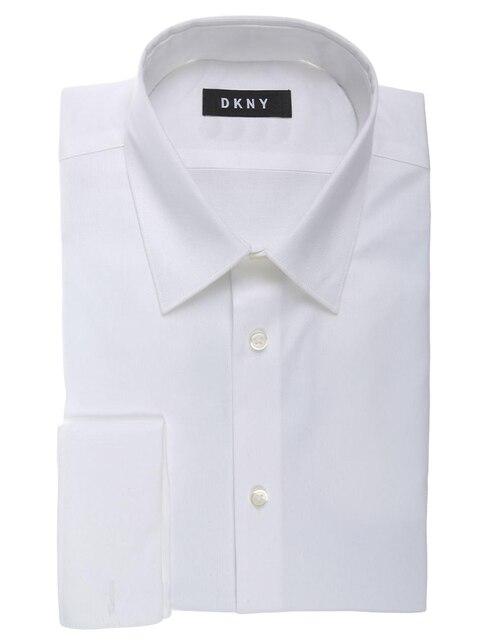 Camisa de vestir DKNY cuello francés corte slim fit manga larga blanca f24dcc67729d