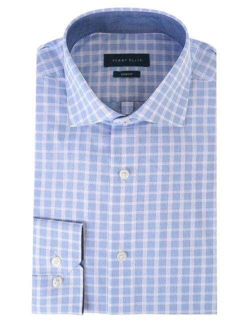 cd5a4ac651d29 Camisa de vestir Perry Ellis cuello italiano corte slim fit manga larga  azul medio a cuadros