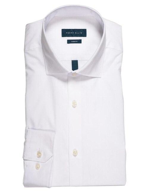 Camisa de vestir Perry Ellis cuello italiano corte slim fit manga larga  blanca 3cf00233775