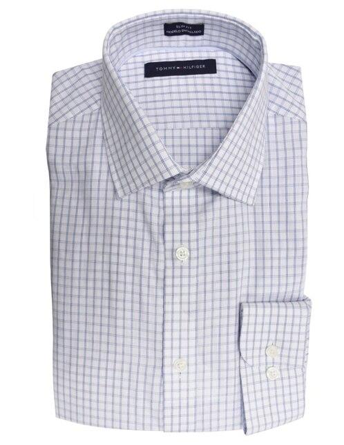 4fce0188b Camisa de vestir Tommy Hilfiger cuello italiano corte slim fit manga larga  azul claro a cuadros