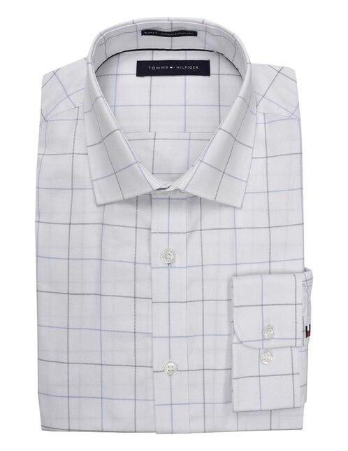 Camisa de vestir Tommy Hilfiger cuello italiano manga larga hueso a cuadros 99b22404a32