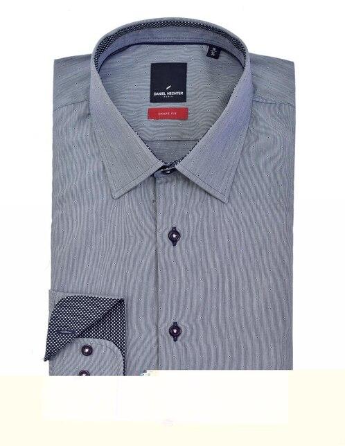 0c721b3d0 Camisa de vestir Daniel Hechter cuello francés corte slim fit azul con  diseño gráfico