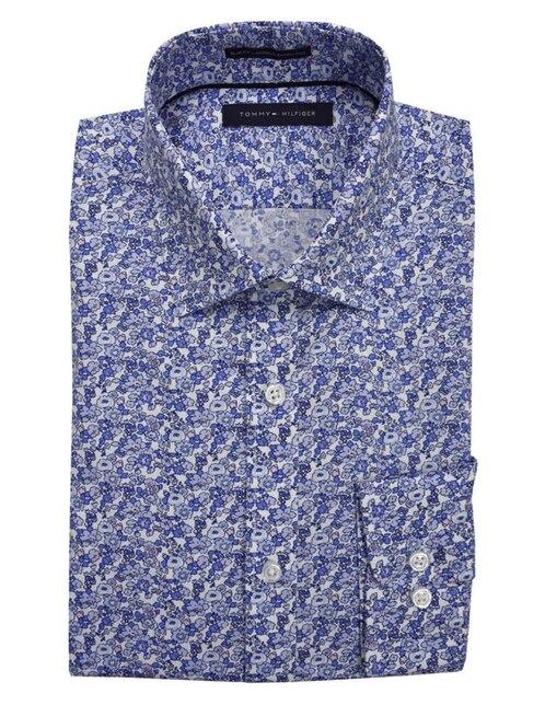 e27073b1f86 Camisa de vestir Tommy Hilfiger cuello italiano corte slim fit azul claro  con diseño floral