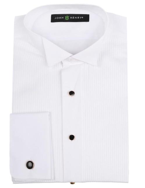 Camisa de vestir John Henry cuello paloma corte slim fit manga larga blanca 5f46720463384