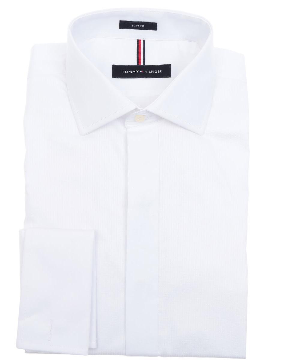 Tommy Hilfiger Camisa De Vestir Corte Slim Cuello Italiano Blanca