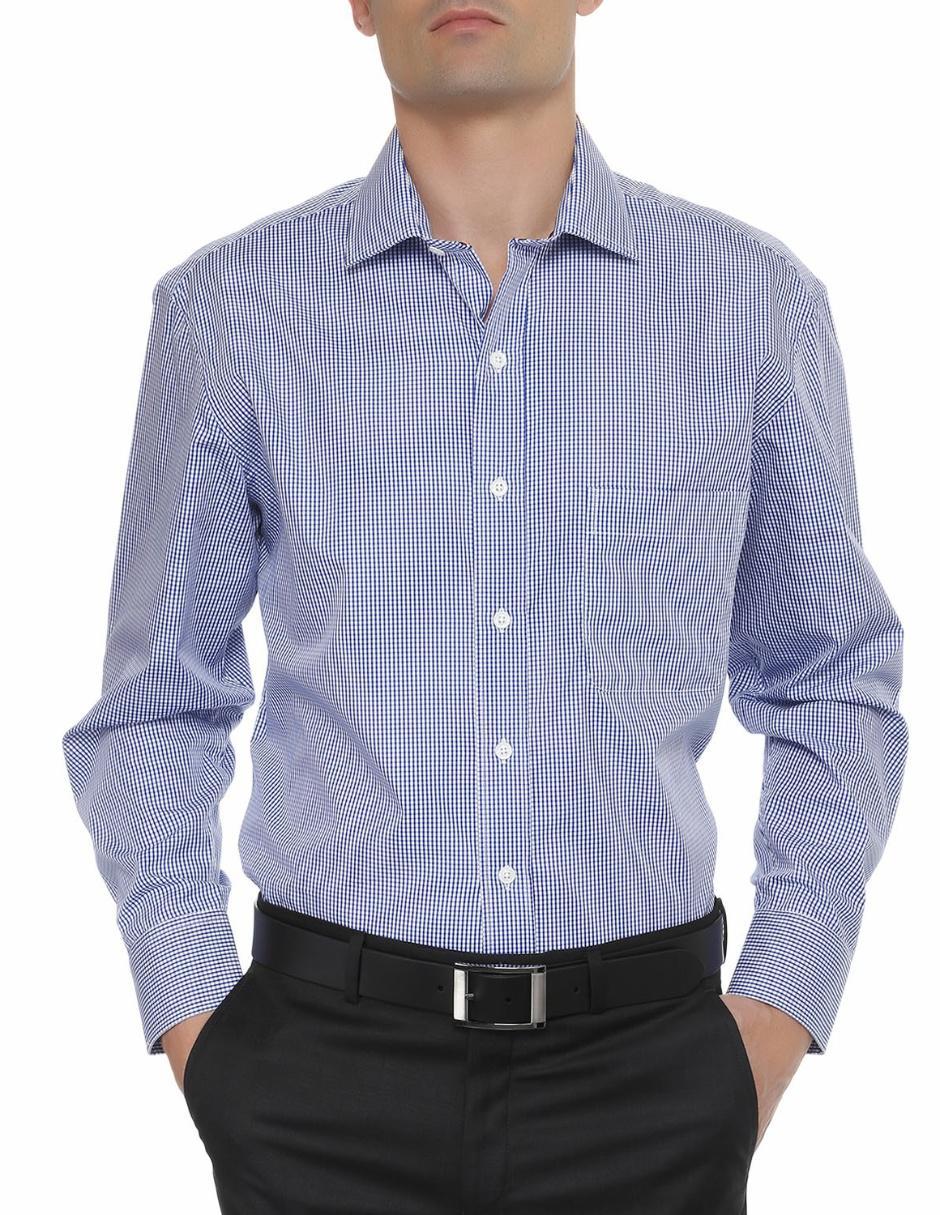 ee86f8efb07 Camisa de vestir Tommy Hilfiger cuello italiano corte regular fit azul medio  a cuadros