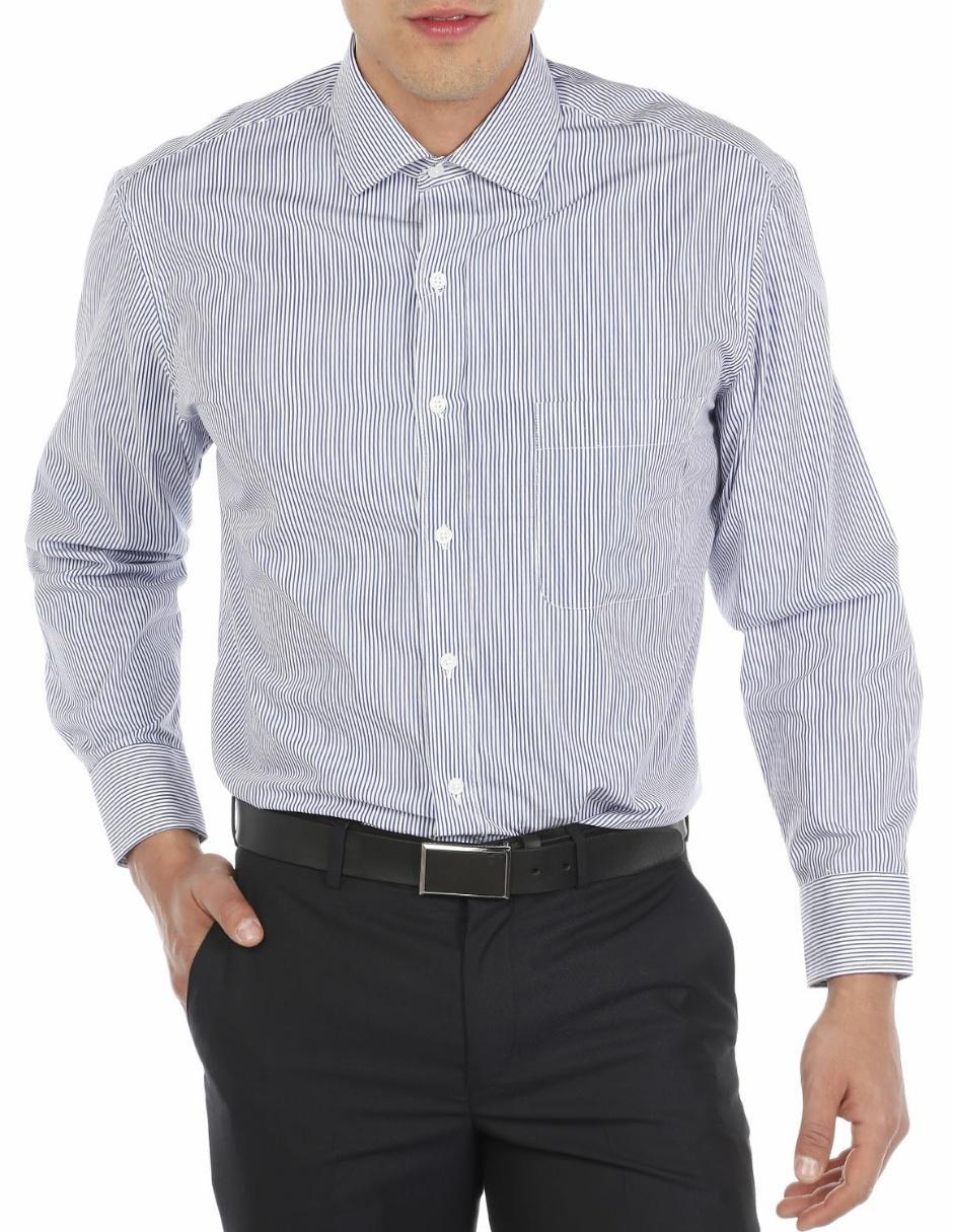 Tommy Hilfiger Camisa Corte Regular Cuello Italiano a Rayas Azul ...