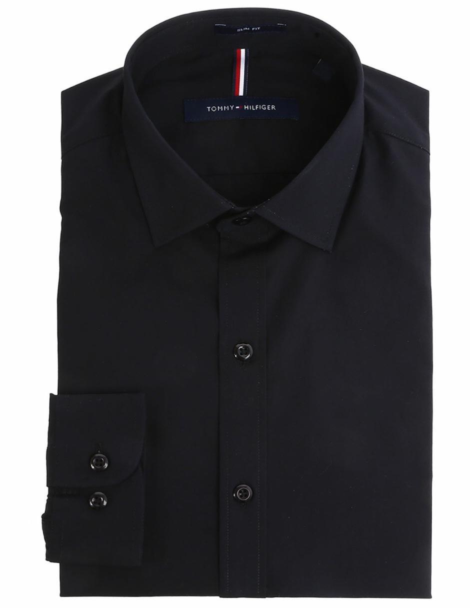 751722549b Tommy Hilfiger Camisa de Vestir Corte Slim Cuello Italiano Negra