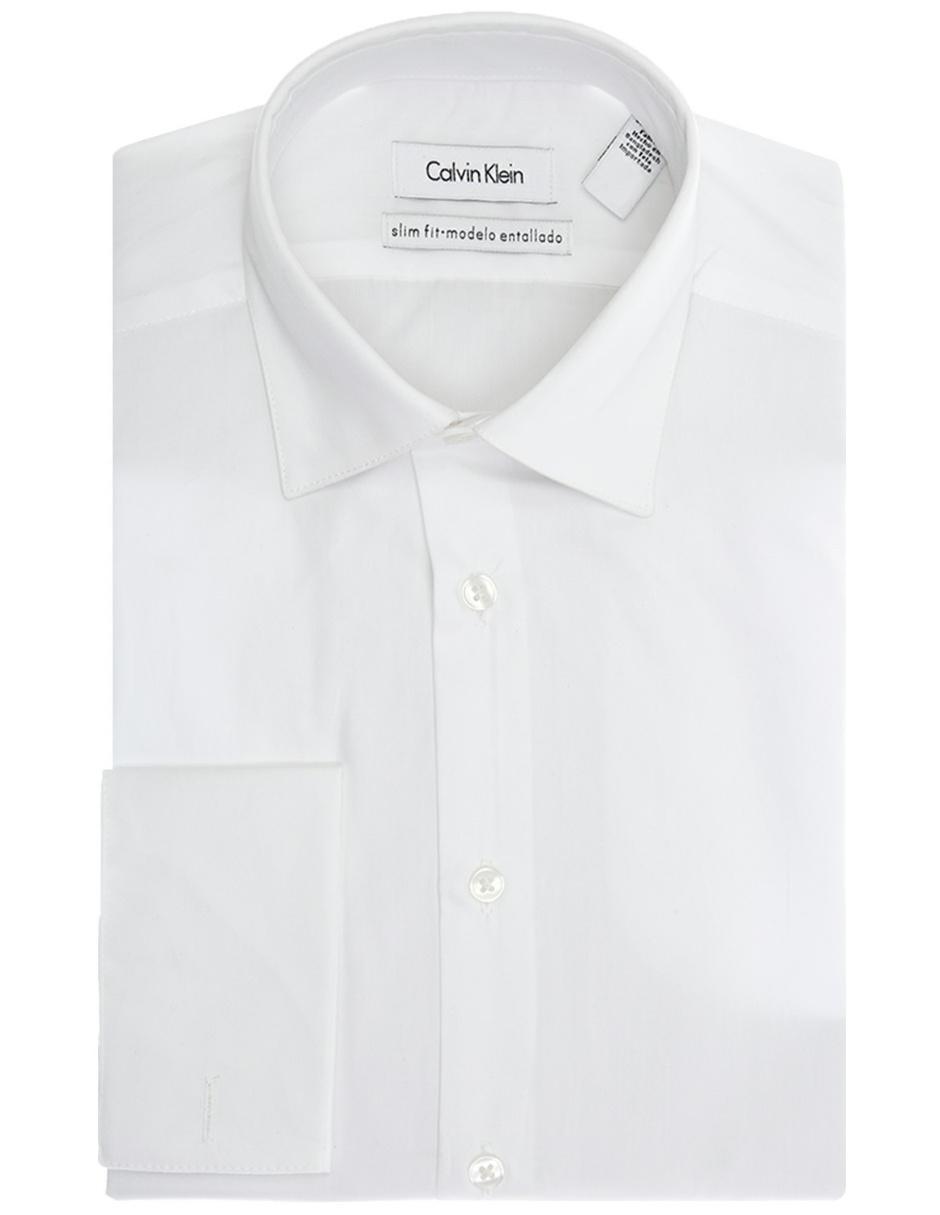 Camisa de vestir Calvin Klein corte slim cuello italiano algodón blanca