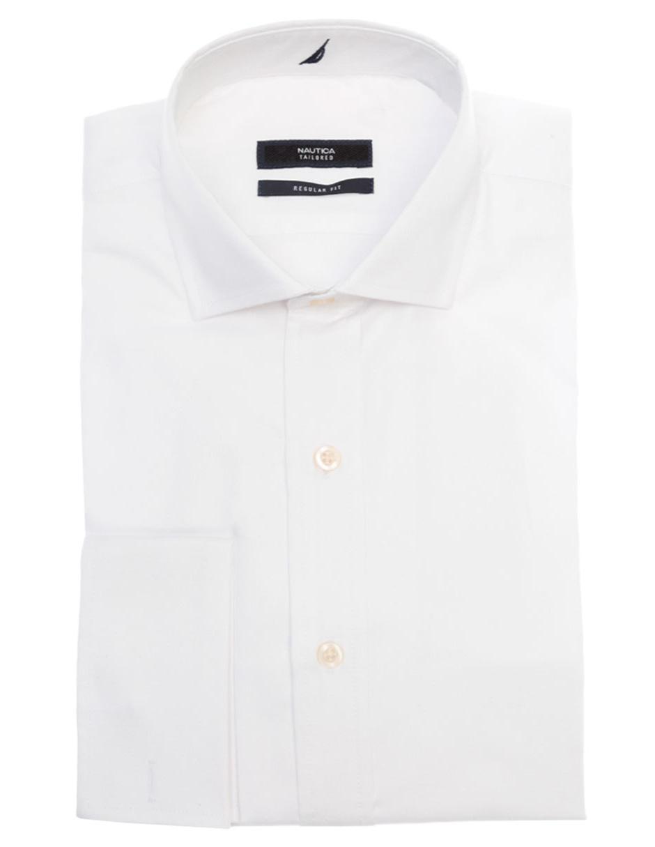 Camisa de vestir Nautica corte regular fit cuello italiano algodón blanca