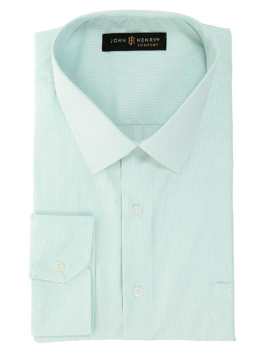 11ecd9d123 Camisa de vestir a rayas John Henry corte regular fit cuello francés verde