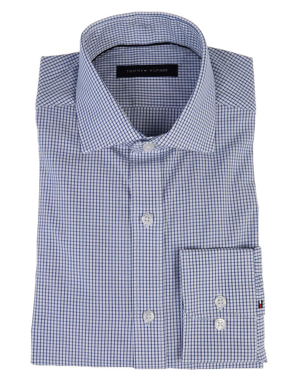 Camisa de vestir Tommy Hilfiger cuello italiano corte regular fit manga  larga azul a cuadros 0d80d860b74