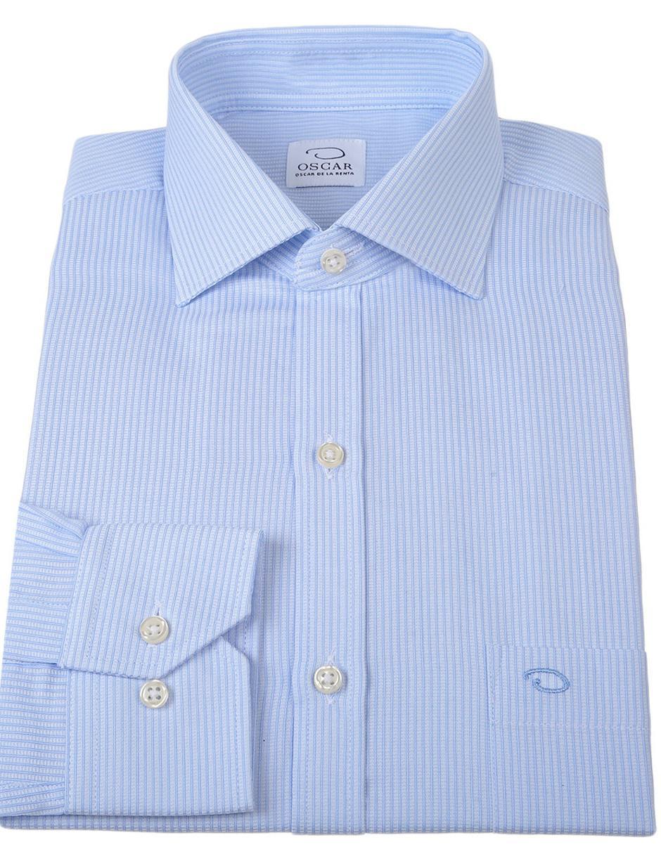 9ced027140 Camisa de vestir Oscar de la Renta cuello italiano corte regular fit manga  larga azul cielo a rayas
