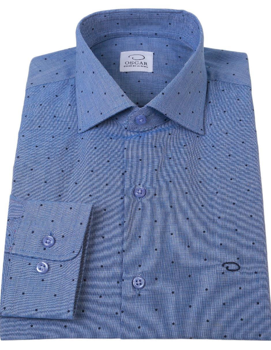 8c3a5236b7 Camisa de vestir Oscar de la Renta cuello italiano corte regular fit manga  larga azul marino con diseño gráfico