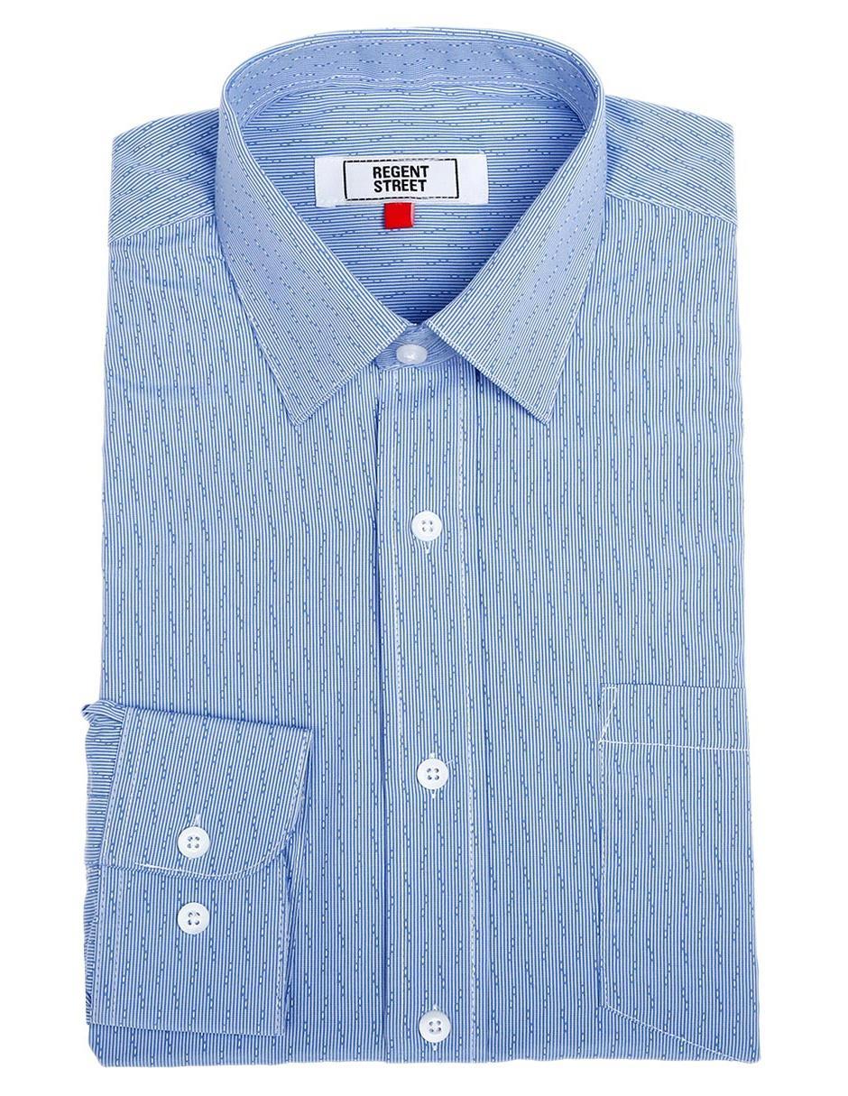 3717a776f4 Camisa de vestir a rayas Regent Street corte regular fit cuello francés azul