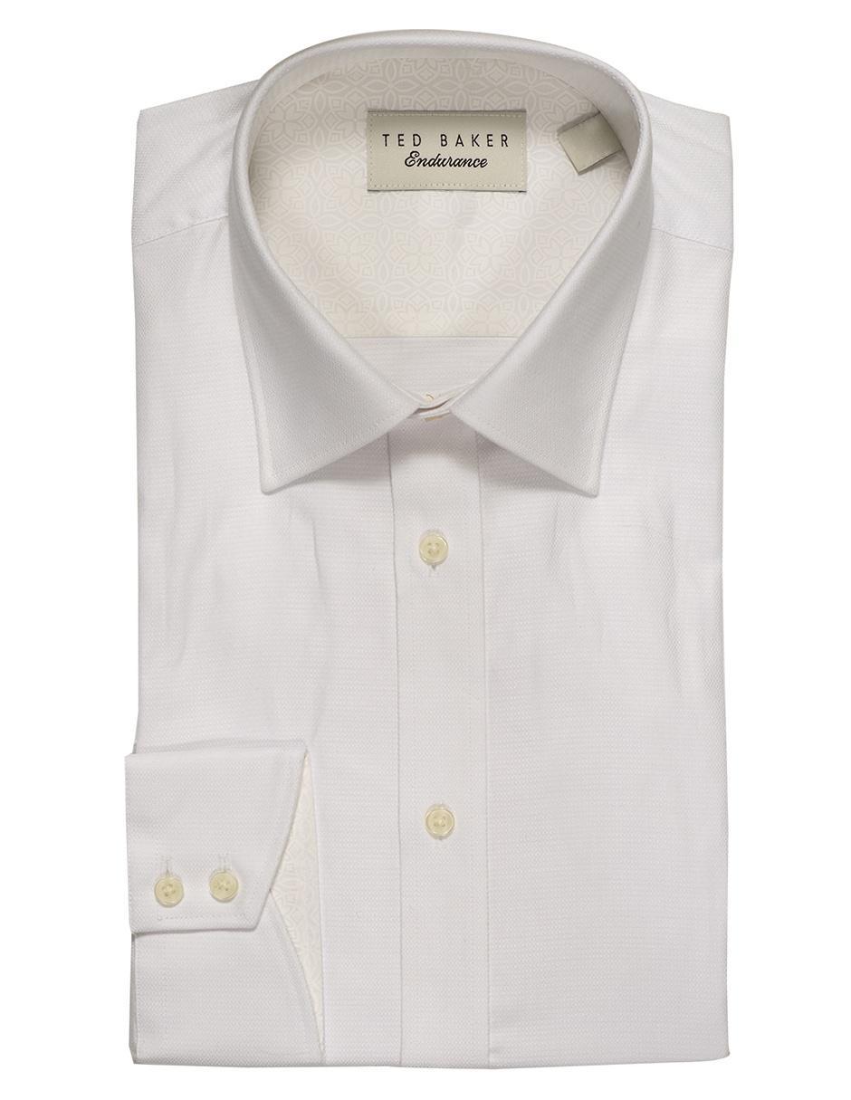 8378867d428 Camisa de vestir Ted Baker cuello francés corte slim fit manga larga blanca