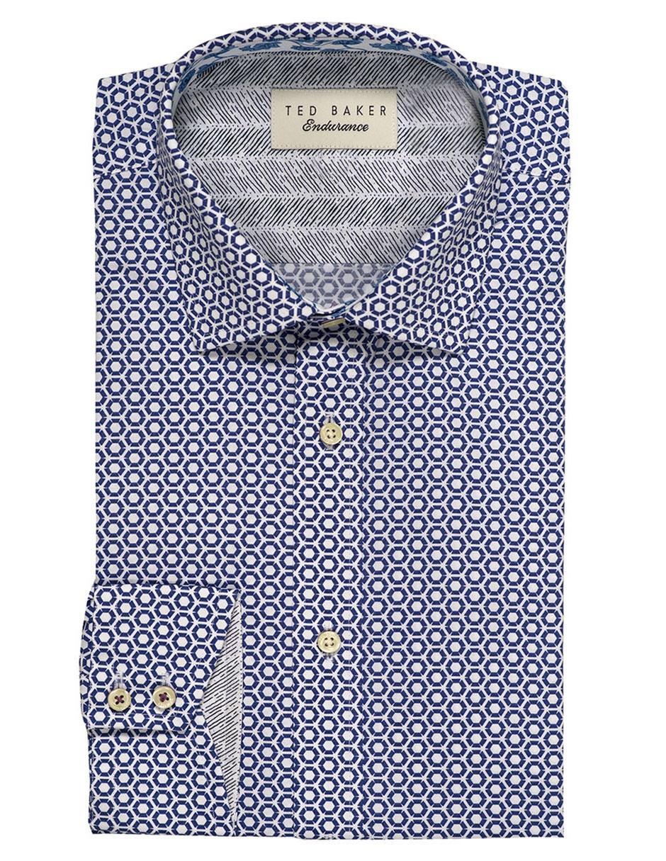 3853f2e8ef5 Camisa de vestir Ted Baker cuello francés corte slim fit manga larga azul  con diseño gráfico