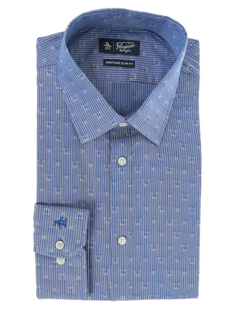 96032390c3 Camisa de vestir Original Penguin cuello inglés slim fit azul marino a rayas  con mariposas