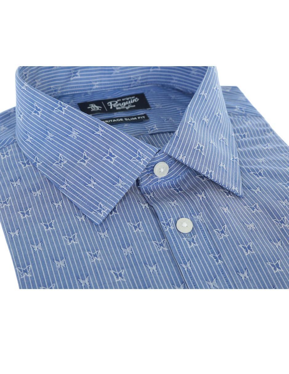 333f1b8c4e COMPARTE ESTE ARTÍCULO POR EMAIL. Camisa de vestir Original Penguin cuello  inglés slim fit azul marino a rayas con mariposas