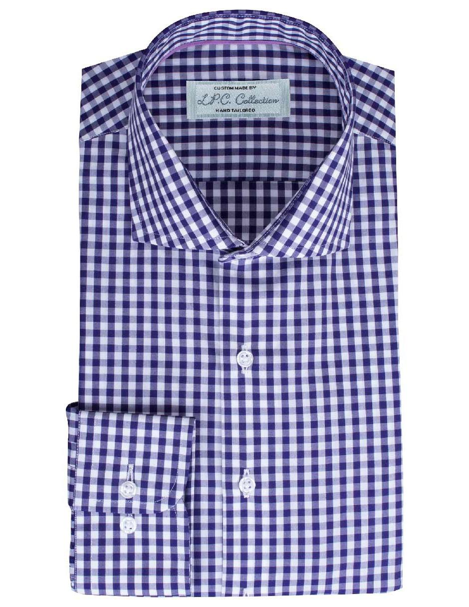 Camisa de vestir LPC cuello italiano corte regular fit morada a cuadros 245df5c2288
