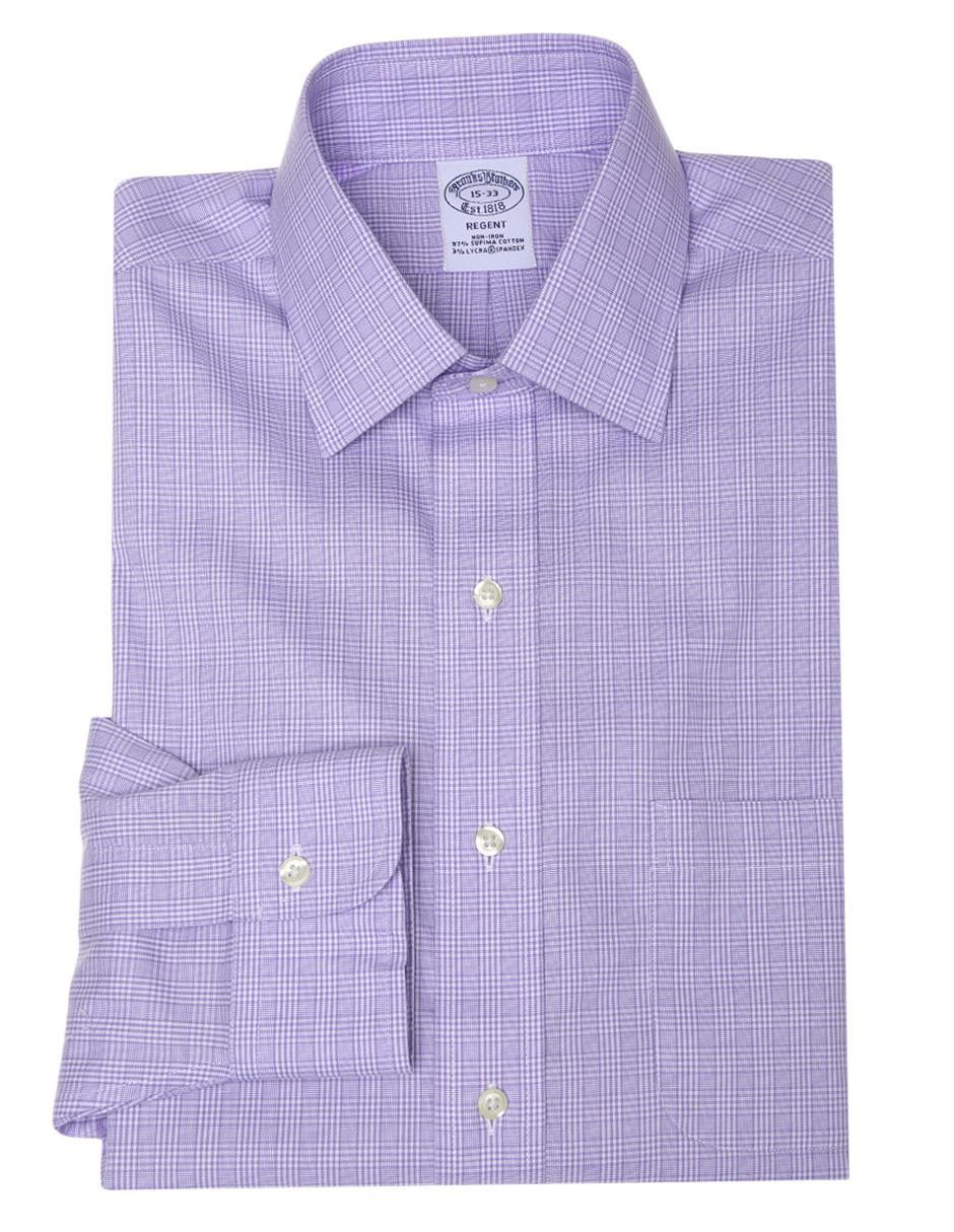 Camisa de vestir Brooks Brothers cuello inglés corte slim fit manga larga morado claro a cuadros