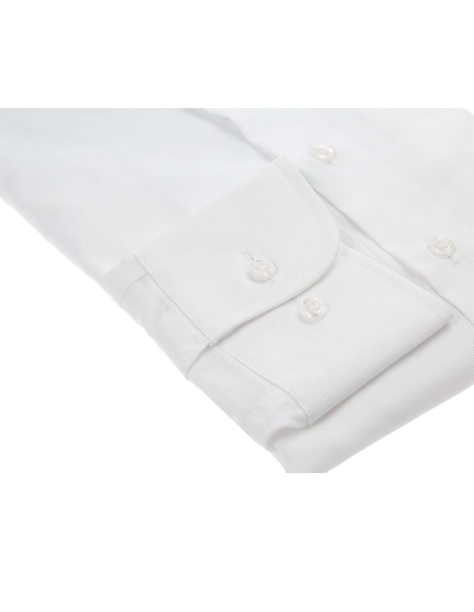 Camisa Vestir Lpc Cuello Italiano Corte Slim Fit Manga Larga Blanca