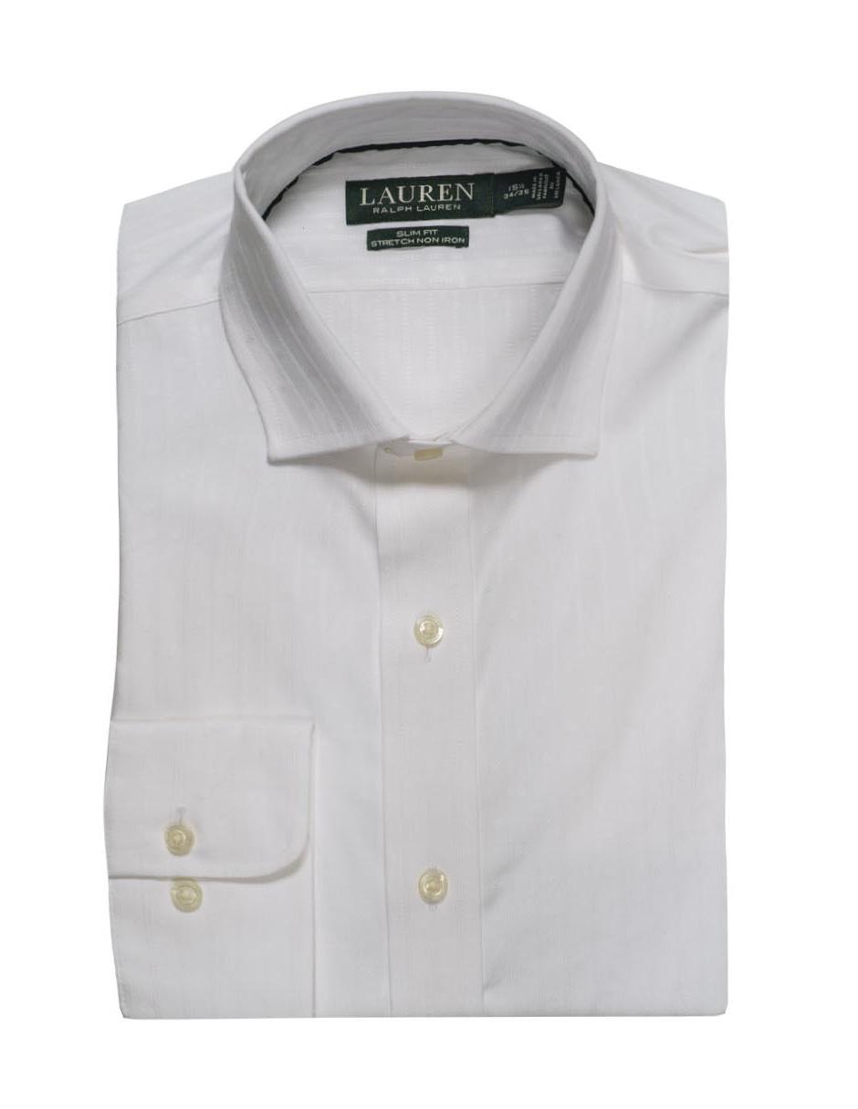 Camisa De Vestir Polo Ralph Lauren Cuello Italiano Corte Slim Fit Manga Larga Blanca Con Diseño Gráfico